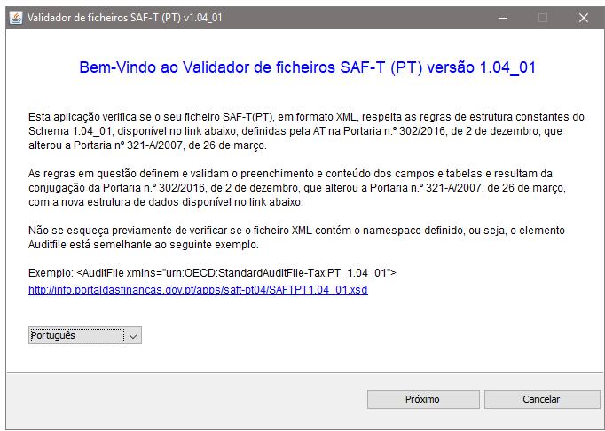 Validar SAFT PT Versão 1.04